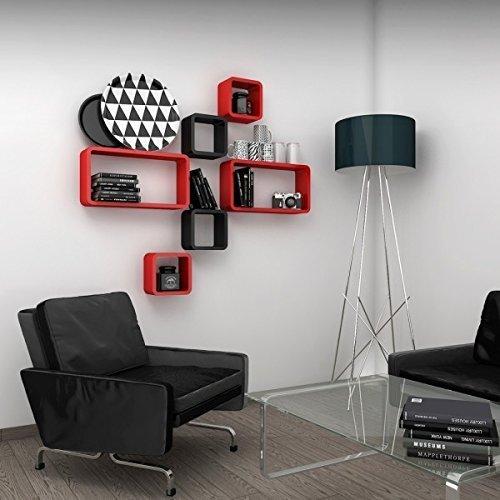 decorative modern contemporary wall shelves black red