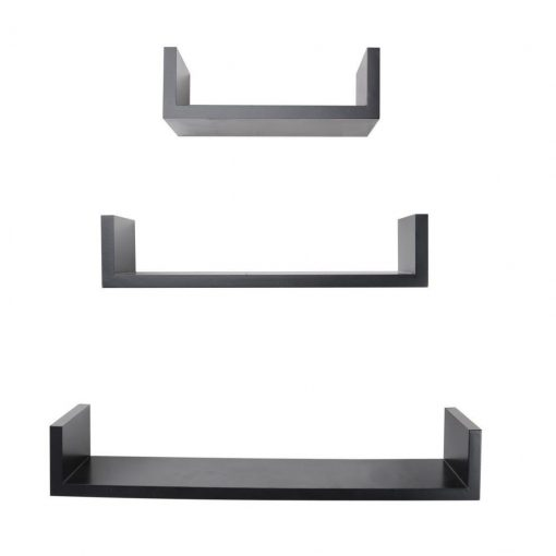 decorative u shape black wall shelves