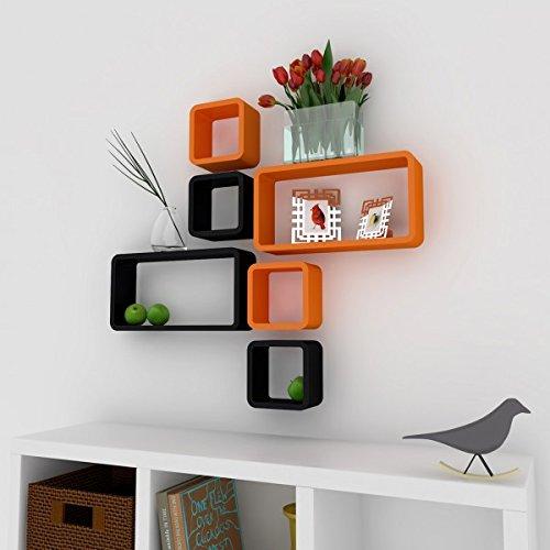 decorative wall decor shelves orange black