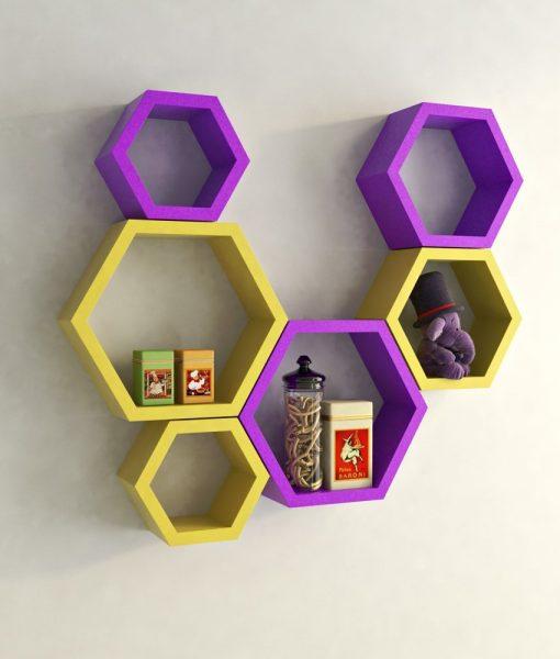 decorative wall racks yellow purple for home decor