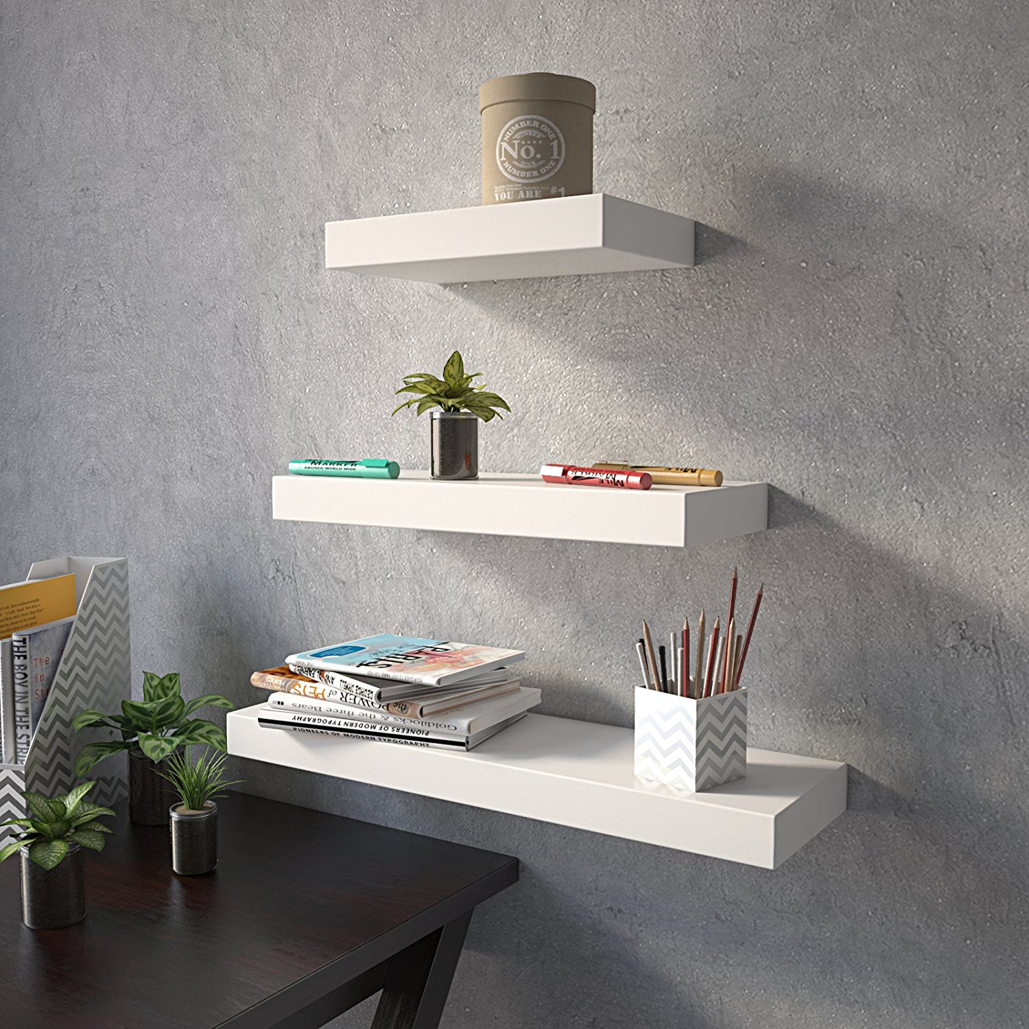 Decorative wall shelves in white for home decor