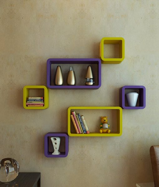 decorative wall shelves purple yellow online india