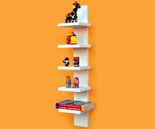 decorative white 5 tier spine wall shelf for storage