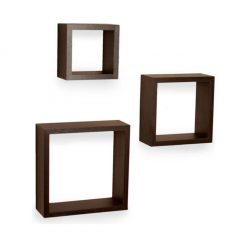 decornation brown set of 3 square wall shelves for sale