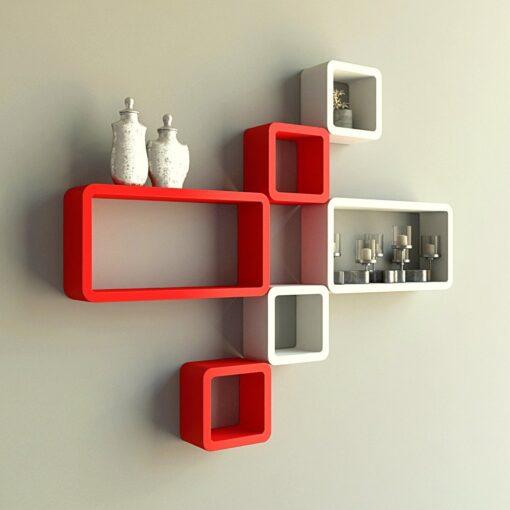 decornation decorative wall rack unit red white