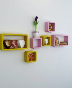 designer bedroom shelf set of 6 pink yellow
