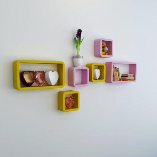 designer bedroom shelf set of 6 pink yellow