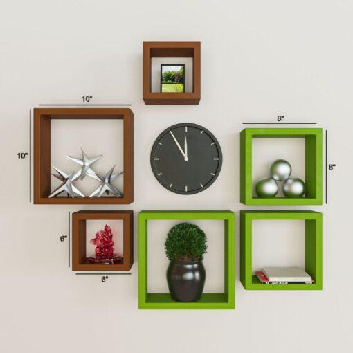 designer decornation wall shelves green brown for sale