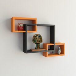 designer intersecting home decor orange black wall shelves