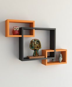 designer intersecting home decor orange black wall shelves