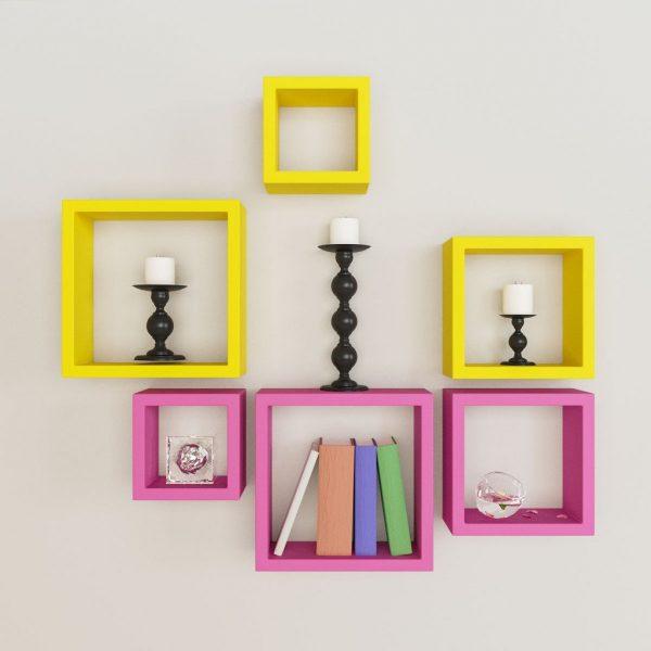designer pink yellow wall decor shelves