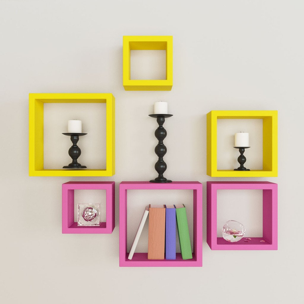 6 nesting square wall shelf rack unit pink yellow for Decor nation