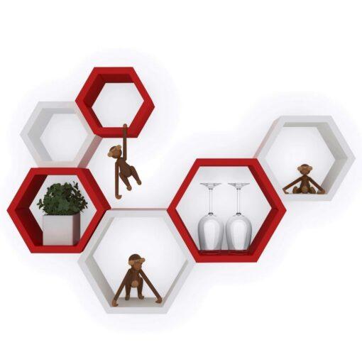 designer red white wall shelf brackets