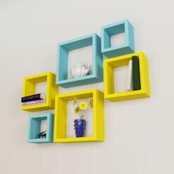 designer set of 6 nesting square wall shelves