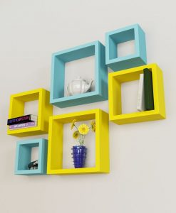 designer set of 6 nesting square wall shelves