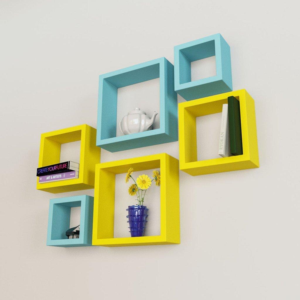 nesting square wall shelf rack unit  sky blue  yellow - designer set of  nesting square wall shelves