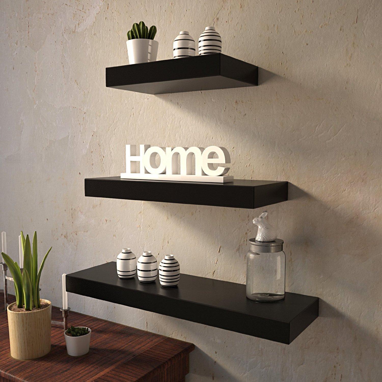 9be53dc18f Set Of 3 (24x7IN 18x7IN 12x7IN) Floating Wall Shelves for Storage & Display  – Black