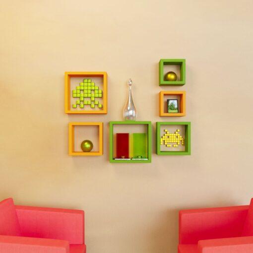 designer wall racks green orange for home decor