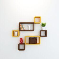 designer wall shelf rack brown yellow
