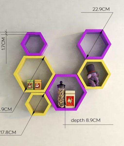 designer yellow purple wall shelves for living room