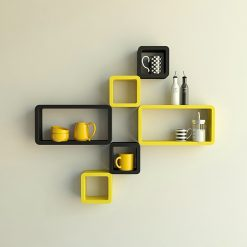 floating cube rectangle wall racks yellow black
