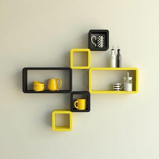 floating cube rectangle wall racks yellow black