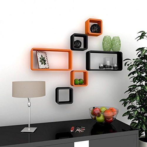 floating set of 6 wall shelves orange black