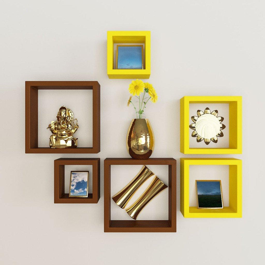 set of 6 nesting square shelves rack unit yellow brown. Black Bedroom Furniture Sets. Home Design Ideas