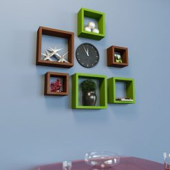 green brown wall shelves set of 6 for wall decor