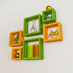 green orange square wall racks for storage in living room