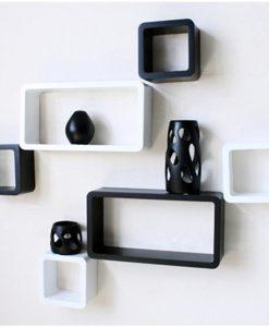 home decor cube rectangle wall shelves black white