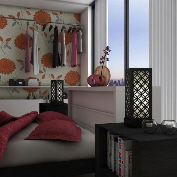 japanese pattern decorative black bedside lamps for sale