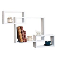 modern style intersecting wall rack white