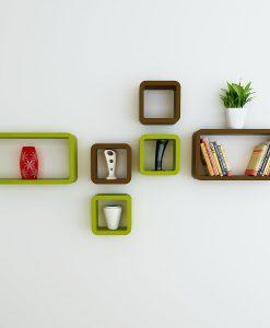 mounted wall decor shelves cube rectangle green brown