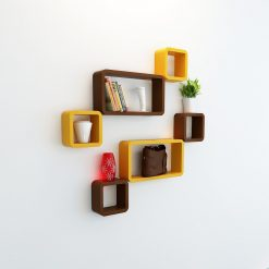 mounted wall racks for decor brown yellow color
