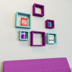 nesting square skyblue purple wall shelves for sale