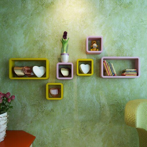 online india decornation wall shelves pink yellow