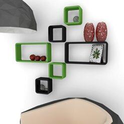 online wall shelf designs cube rectangle green black
