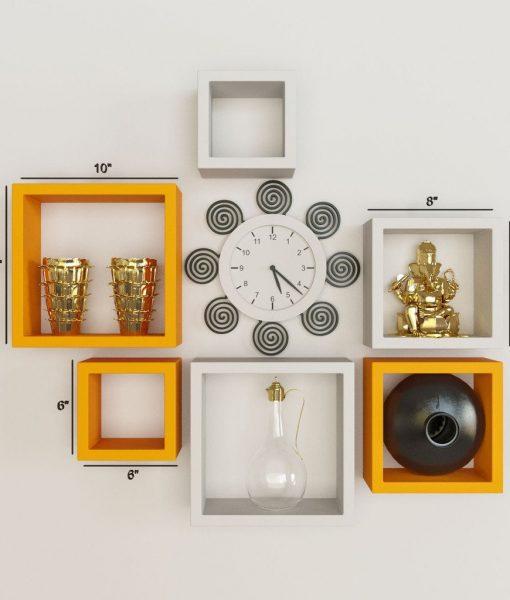 orange green wall shelves for home decor