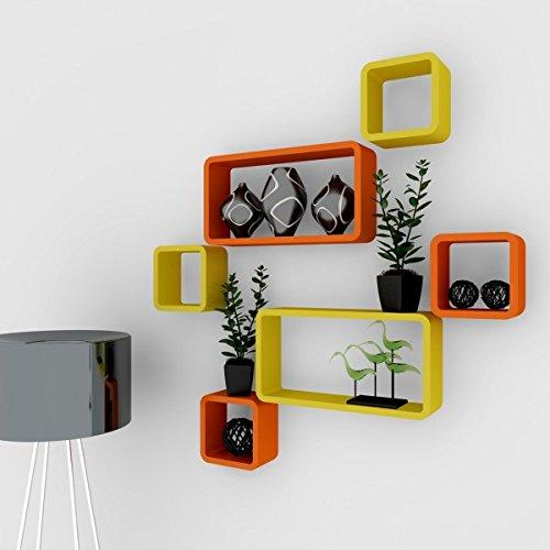 orange yellow display wall racks