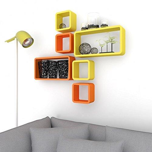 orange yellow set of 6 storage wall shelves