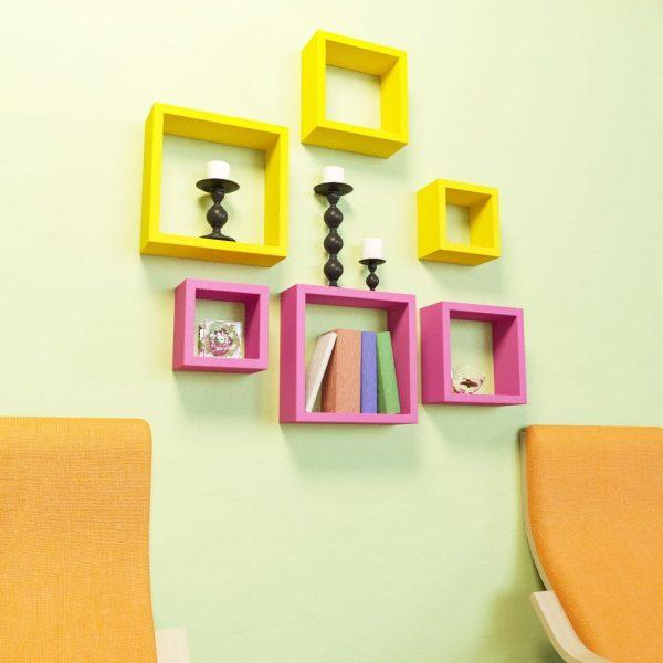 pink yellow decorative wall racks for living room