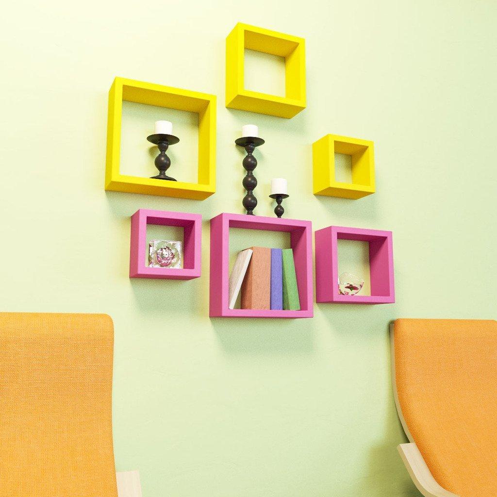 6 Nesting Square Wall Shelf Rack Unit - Pink & Yellow