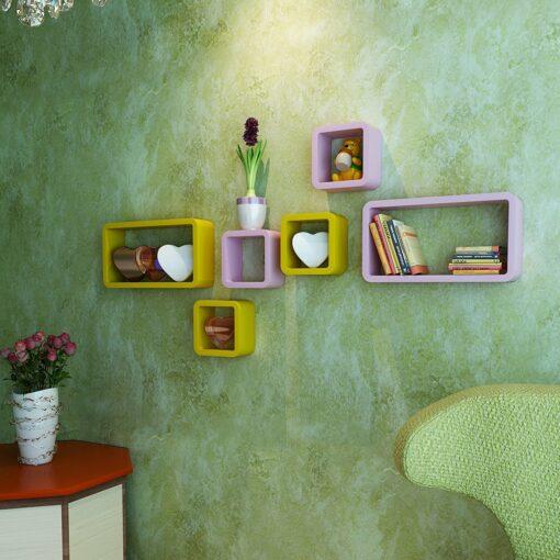 pink yellow set of 6 wall decor shelves