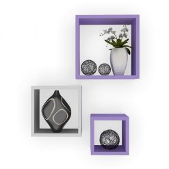 purple white storage square wall shelves