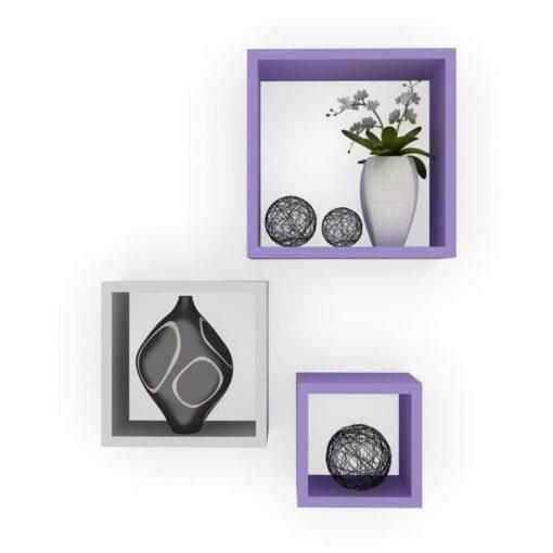 purple white storage square wall shelves