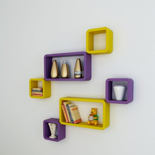 purple yellow cube rectangle wall shelves for sale