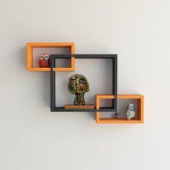 rectangular intersecting orange black wall shelves