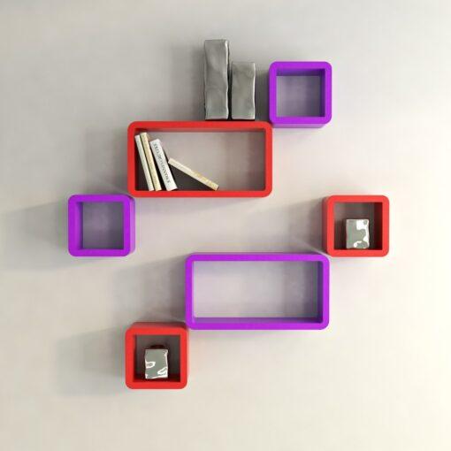 red purple contemporary wall shelf unit for home decor