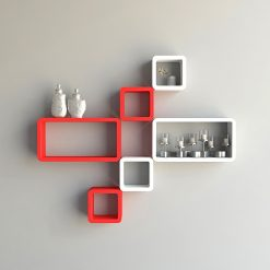 red white cube rectangle wall shelves for sale